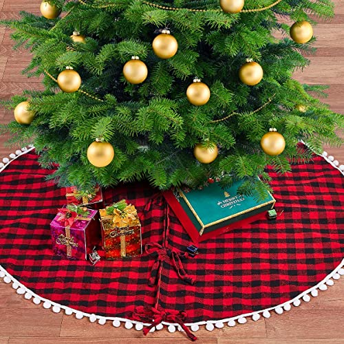 "yuboo Buffalo Plaid Christmas Tree Skirt,Rustic 48"" Checked Pom Pom Xmas Tree Skirt"