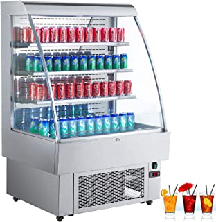 VBENLEM 40 inchs Stainless Steel Intelligent Self Contained Open Refrigerator 380L Commercial Display Cooler Case with LED Light Suit for Shop Supermarket Restaurant