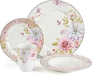 Kuty, Série ressort . Service de Table Complet en Porcelaine 16 pièces pour 4 Personnes . Assiette À Dessert,Assiette À Dî...