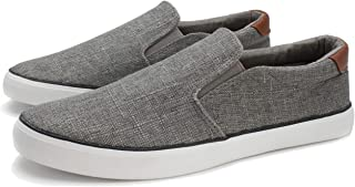 PepStep Canvas Sneakers for Men/Black/White/Navy Mens Canvas Shoes Casual Low Top Lace Up Sneakers Grey Size: 11
