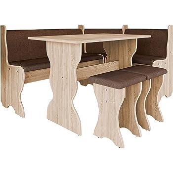Mirjan24 Eckbankgruppe Thomas, Eckbank Gruppe besteht aus Kücheneckbank, Tisch, 2X Hocker, Esszimmer Sitzbank (Eiche Sonoma + Alfa 08)