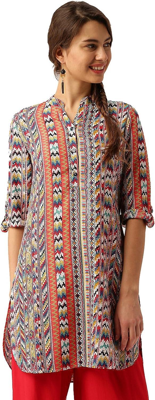 Desi Fusion Women Casual Tunic Straight Printed Long Top (Multicolor)