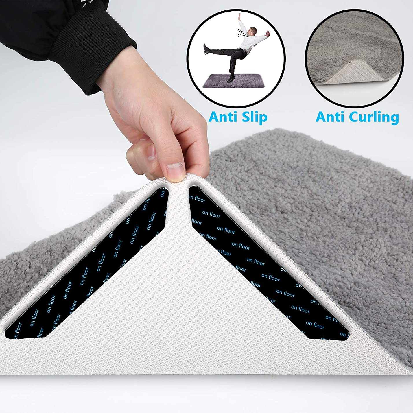 説明的偏心塊ラググリッパー 12個 Lサイズ シャボー カーペット グリッパー アンチカーリング ノンスリップ & スライド ラグストッパー - ラグを所定の位置に保ち、コーナーを平らに保ち、洗濯可能なテープグリッパーでトラフィックオンランナーに安全 (ブラック)