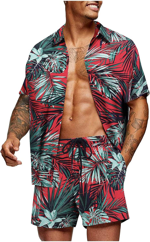 Huangse Hawaii Men's Flower Flamingo Prints Casual Button Down Short Sleeve Hawaiian Coconut Tree Shirt Suits Beach Shorts