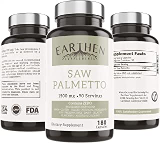 Organic Saw Palmetto Supplement| 1500mg Per Serving 180 Capsule 90 Servings | Vegan Friendly | China Free Ingredients Non-GMO