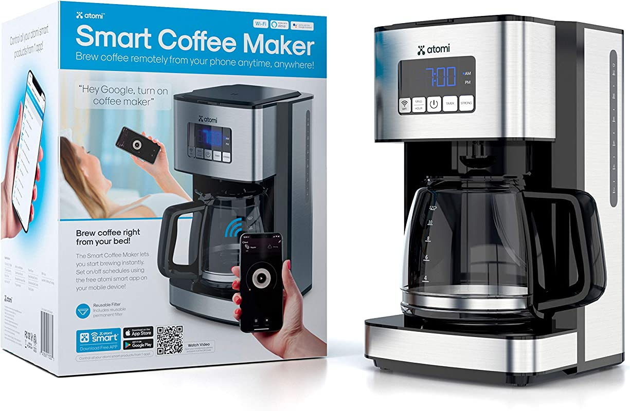 Atomi Smart WiFi Coffee Maker 12 Cup Black Silver Compatible With Amazon Alexa Google Home IOS And Android Control Coffee Brew From Anywhere