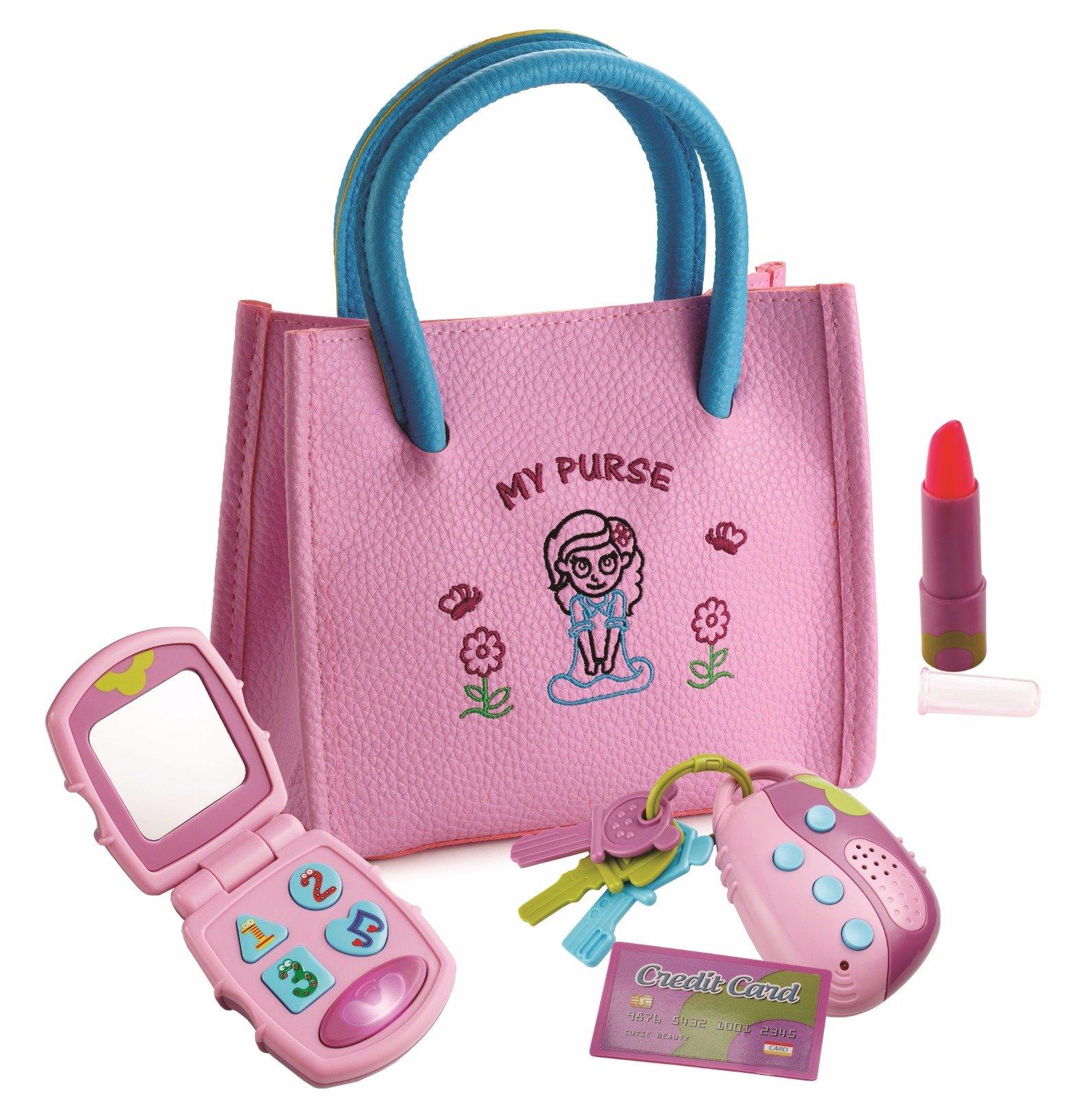 Playkidz My First Purse - 假装游戏公主套装带手提包、翻转手机、发光遥控钥匙、玩唇膏和儿童信用卡 - 非常有趣和学习的教育玩具