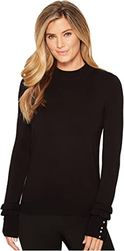Ivanka Trump - Crew Neck Long Sleeve Sweater with Ruffle At Wrist and Pearls