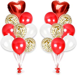 Treasures Gifted Pearl White and Red Latex Balloons Gold Confetti Balloons Party Kit for Arch Column Stand School Wedding Baby Shower Birthday Party Supplies