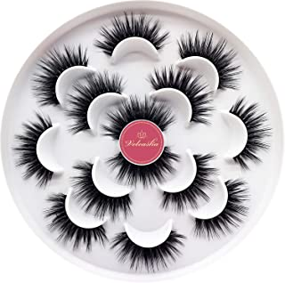 Veleasha Luxurious 5D Faux Mink Lashes 100% Handmade False Eyelashes for Make Up 7 Pairs   Queen