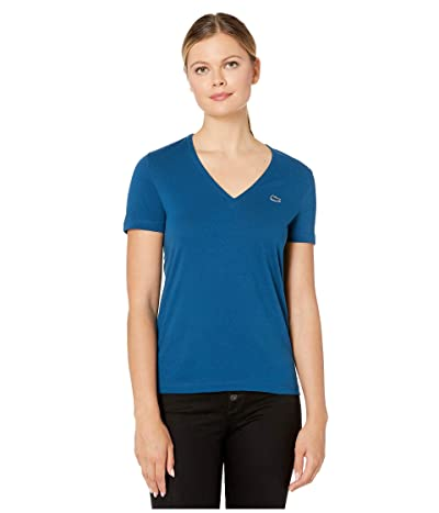 Lacoste Short Sleeve Solid V-Neck Jersey Tee (Raffia Matting) Women
