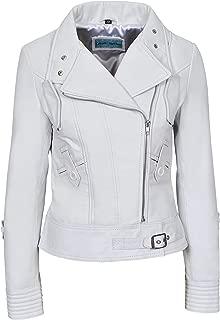 Smart Range Supermodel Ladies White Biker Style Designer Real Nappa Italian Leather Jacket