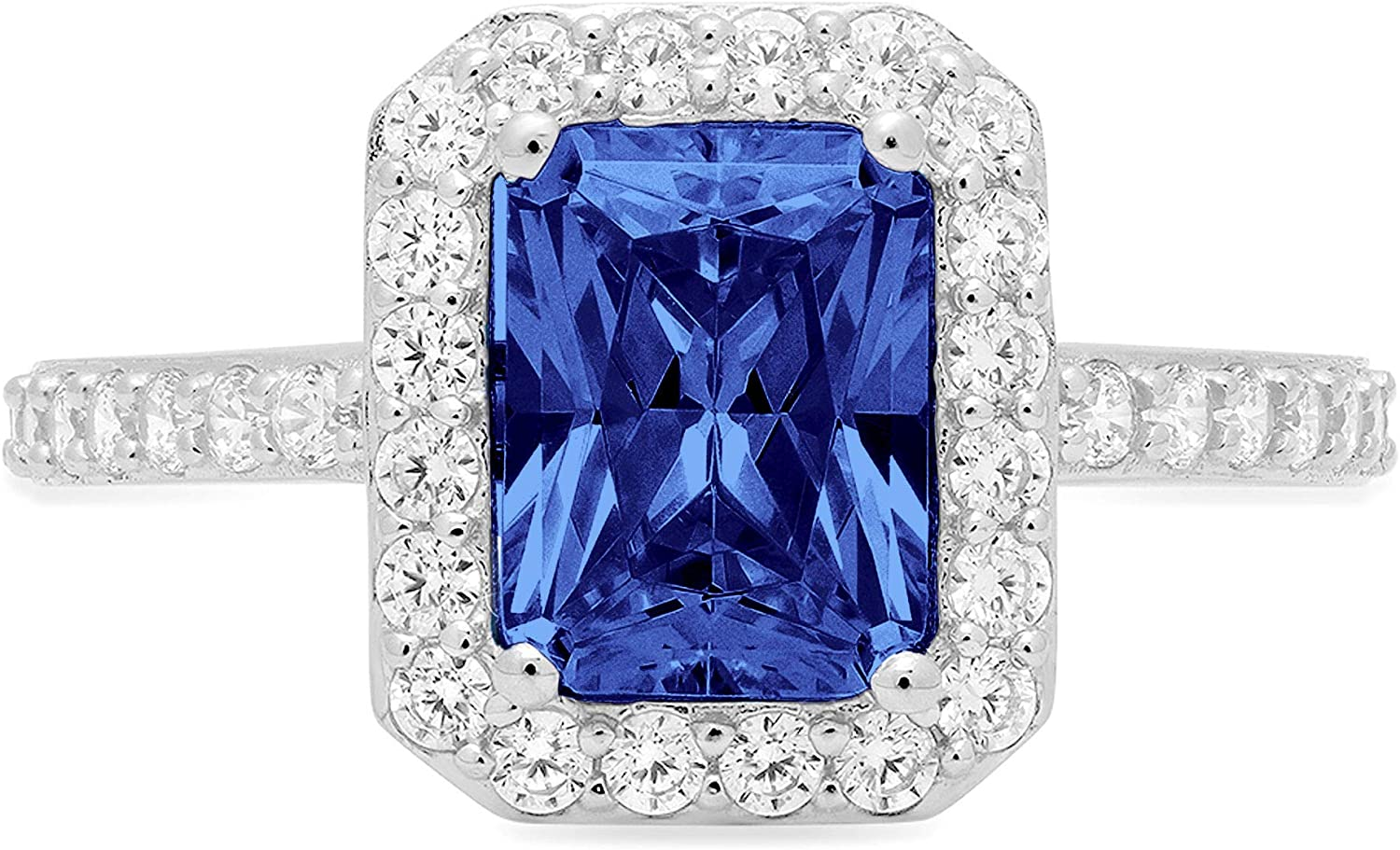 2.12 Brilliant Emerald Cut Solitaire with Accent Halo Stunning Genuine Flawless Simulated Blue Tanzanite Modern Promise Designer Ring 14k White Gold