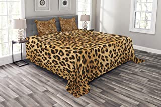 Lunarable Animal Print Bedspread, Wild Animal Leopard Skin Pattern Wildlife Nature Inspired Modern Illustration, Decorative Quilted 3 Piece Coverlet Set with 2 Pillow Shams, Queen Size, Sand Brown