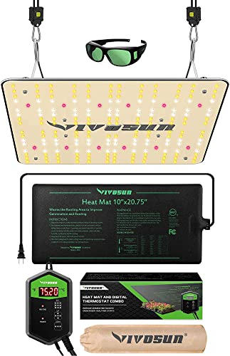 """wholesale VIVOSUN 10""""x20.75"""" Seedling Heat Mat and Digital new arrival Thermostat Combo lowest Set MET Standard, and Latest VS1000 LED Full Spectrum Grow Light with Samsung LM301H Diodes online"""