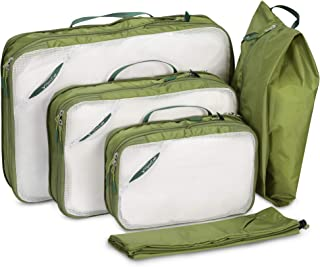 Hynes Eagle 5pcs Packing Cubes Double Sided Travel Luggage Packing Organizers with Laundry Pouch Bag Shoes Bag Green