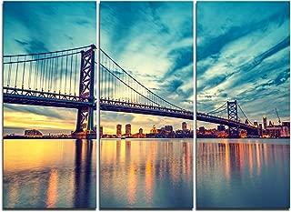 Designart Ben Franklin Bridge in Philadelphia-Cityscape Canvas Art Print-36x28in-Multipanel 3 Piece, 36x28-3 Panels