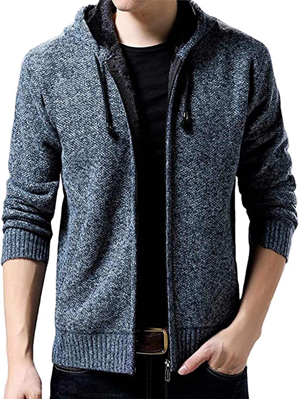 ZSBAYU Men's Casual Solid Zipper Hoodie Sweaters Plush Jackets, Winter Long Sleeve Sweaters Jackets Coats for Men