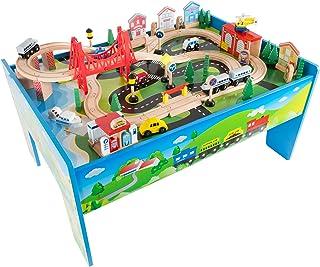 میز ست قطار چوبی مخصوص کودکان و نوجوانان ، لوکس مجموعه ای چوبی با پیست ، قطار ، اتومبیل ، قایق و لوازم جانبی برای پسران و دختران را توسط Hey رنگ آمیزی کرده است! بازی!