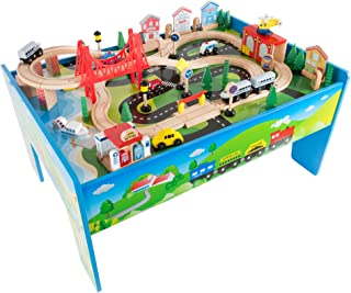Wooden Train Set Table for Kids, Deluxe Had Painted Wooden Set with Tracks, Trains, Cars, Boats, and Accessories for Boys and Girls by Hey! Play!