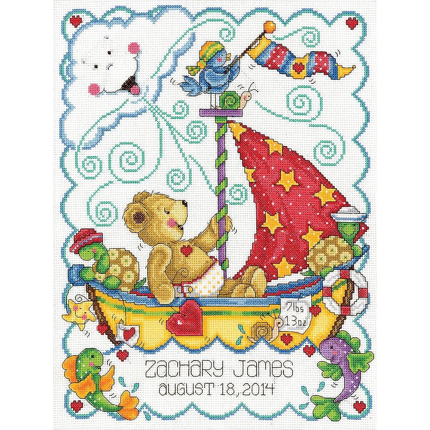 Tobin Sail Away Baby Counted Cross Stitch Kit, 11-Inch x 14-Inch