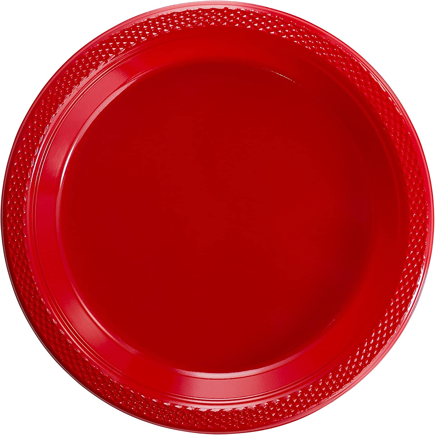 Exquisite 9 Inch. Red Plastic Plates  Solid color Disposable Plates  50 Count