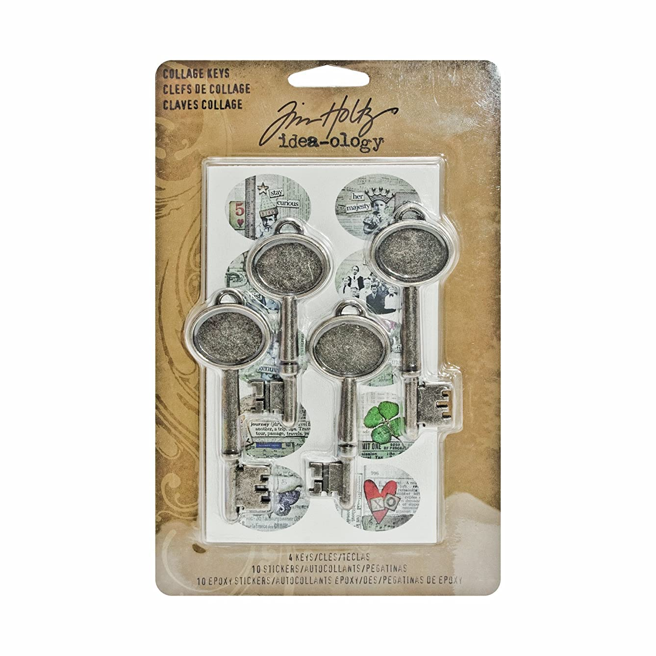 Collage Keys by Tim Holtz Idea-ology, Assorted Sizes, 4 Keys and 20 Stickers, Multicolored, TH93079