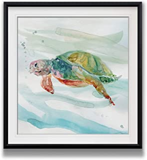 Renditions Gallery BF-19760-1616 Turtle Tropics II Sea Animal Wall Decor Painting Coastal Art Framed Nautical Artwork Ocean Beach Canvas Prints, 16 x 16, Black