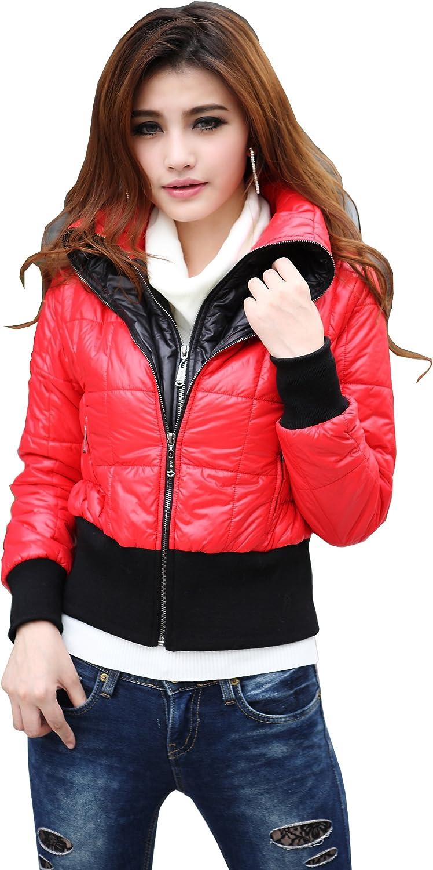 colorfulworldstore ladies Winter thick cotton jacket coatsFake 2piece short jackets coat2color