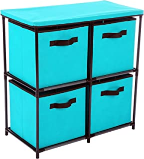 Homebi 4-Drawer Storage Chest Shelf Unit Storage Cabinet Multi-Bin Organizer with Removable Non-woven Fabric Bins in Turquoise,25