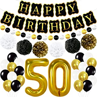 Gold, Black 50th Birthday Decorations Kit - Happy Birthday Banner for 50th Birthday Party Decorations Large Number 50 Gold...