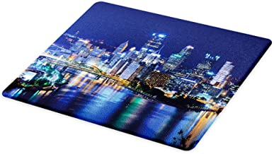Lunarable Cityscape Cutting Board, Skyscrapers Downtown Pittsburgh American Night Skyline Business Town Scenery, Decorative Tempered Glass Cutting and Serving Board, Large Size, Grey Blue