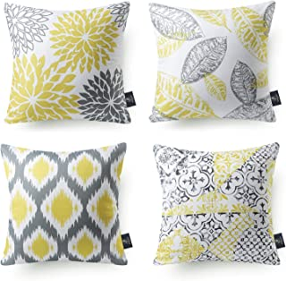Best Phantoscope Set of 4 New Living Series Yellow and Grey Decorative Throw Pillow Case Cushion Cover 18 x 18 inches 45 x 45 cm Review