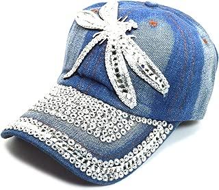 Denim Hats Rhinestone Studded Sparkly Bling Baseball Cap Women AYO1099