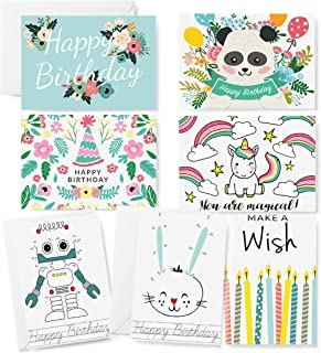 42 Pack Children Birthday Greeting Cards -UNIQUE DESIGN Assortment for Kids Variety Pack- Bulk Box Set with Envelopes Included - 4 x 6 Inches Blank Inside