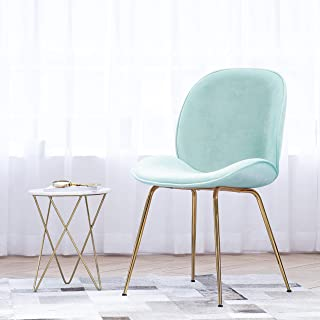 Art Leon Velvet Chair Soft Upholstered Modern Shell Beetle Leisure Chair with Gold Legs for Living Dining Room Bedroom Dresser (Candy Green)