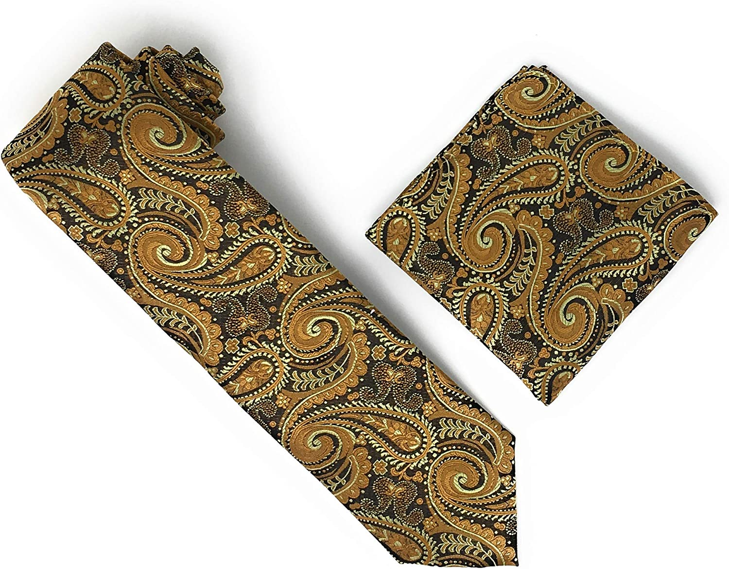 Brown, Mocha, Light Brown & Tawny Paisley 100% Silk Woven Necktie With Matching Pocket Square