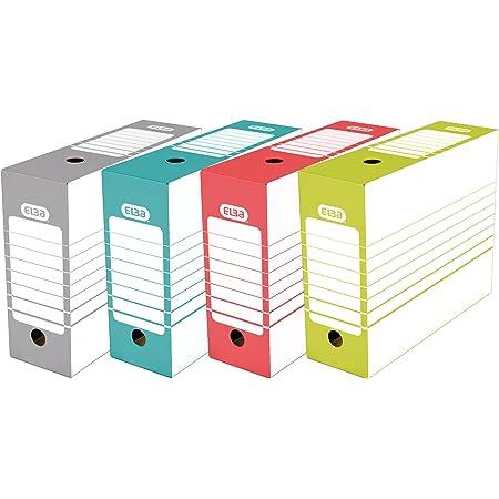 Elba Lot de 20 Boîtes Archives Automatiques en Carton Dos 10 cm Couleurs Assorties