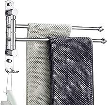 BangShou Draaibare handdoekhouder, handdoekhouder met 2 Swing Bars voor badkamer, RVS Wandmontage Swing handdoekhouder voo...