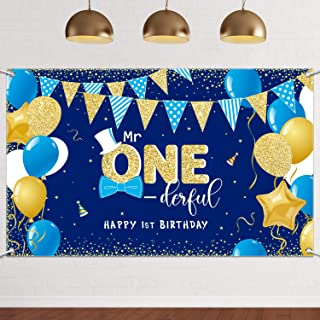 Boys 1st Birthday Party Mr Onederful Banner Backdrop Sign Bowtie Toddler Little Man for First One Birthday Cake Table Part...