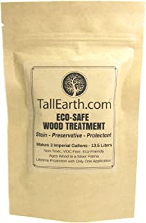 ECO-Safe Wood Treatment - Stain by Tall Earth Wood Preservatives - 1/3/5 Gallon Sizes - Non-Toxic/VOC Free/Natural Source (3 Gallon)