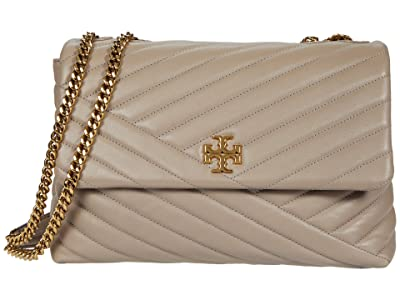 Tory Burch Kira Chevron Convertible Shoulder Bag (Gray Heron) Handbags