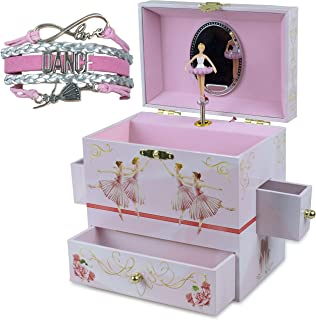 ShameOnJane Ballerina Pink Jewelry Box for Girls - Four Pullout Drawers for Trinket and Jewelry Storage - Dancer Twirling to The Melody of Swan Lake - Bonus Dance Bracelet!