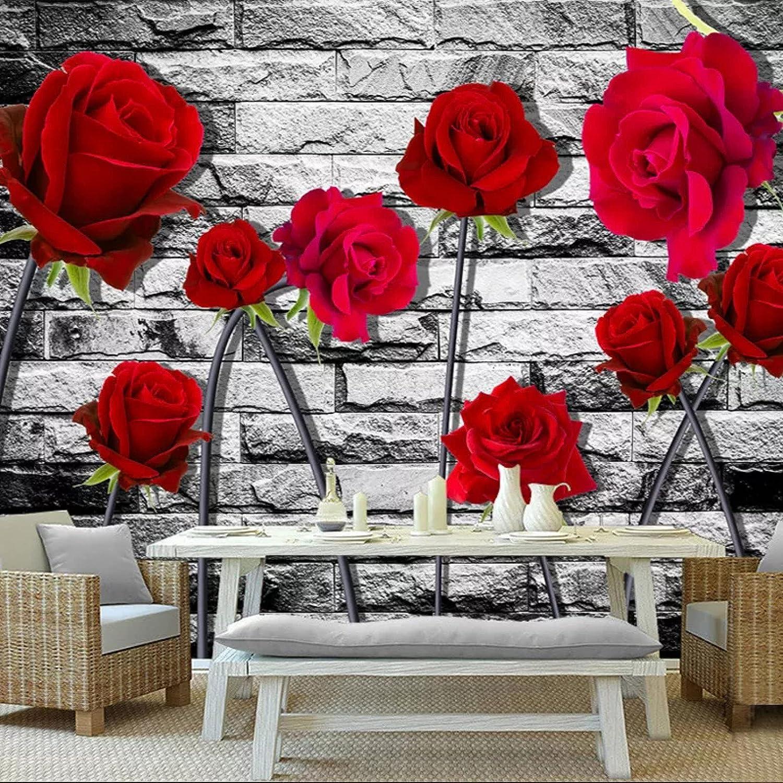 3D Wallpaper Romantic Fresh red Rose Wall Photo Brick W Large-scale sale Retro 5 popular