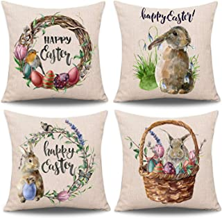 Whaline 4 Pieces Easter Pillow Case Rabbit Bunnies with Eggs Canvas Pillow Cover, Spring Season's Cotton Linen Sofa Bed Throw Cushion Cover Decoration (18 x 18)