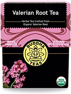 Organic Valerian Root Tea, 18 Bleach-Free Tea Bags – Caffeine Free Tea Supports Healthy Sleep Cycle, Eases Muscle Pain, an...