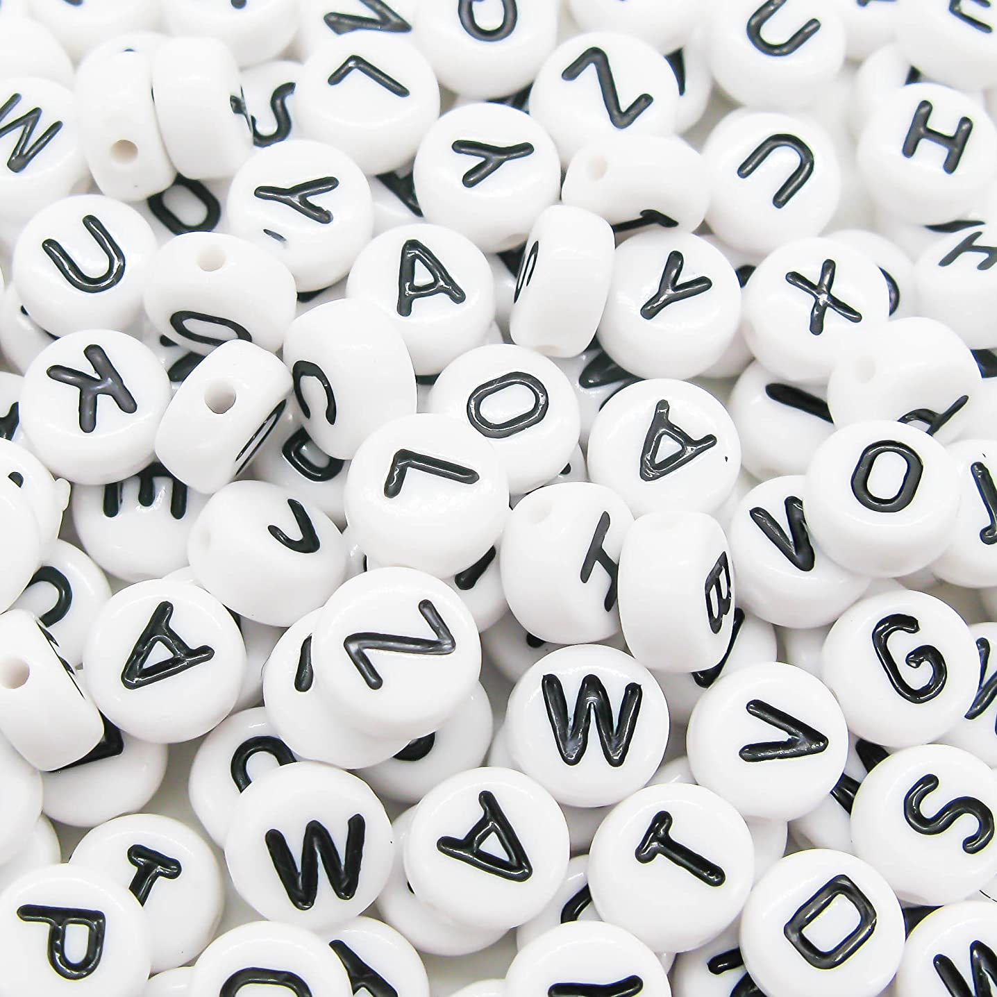 TOAOB 800Pcs 7mm White Round Acrylic Letter Beads for DIY