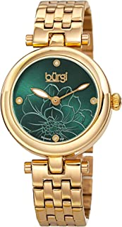 Burgi BUR223 Stainless Steel Designer Women's Watch – 4 Genuine Diamond Markers on Flower Embossed Sunray Dial, Polished Bezel - Elegant Link Bracelet