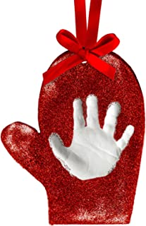 Tiny Ideas Baby's Print Holiday Mitten Keepsake DIY Ornament with Included Impression Material for Handprint