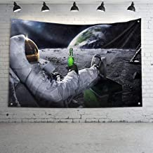Mural Wall Art Astronauts on The Moon Banner Flag Heavy Wind with Brass Grommets for Dorm Room Decor,Outdoor,Parties,3 x 5 Ft